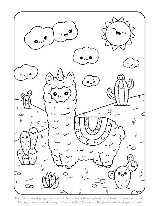 Free Kawaii Llama Printable Colouring Page In 2020 Coloring Books Coloring Pages Free Coloring