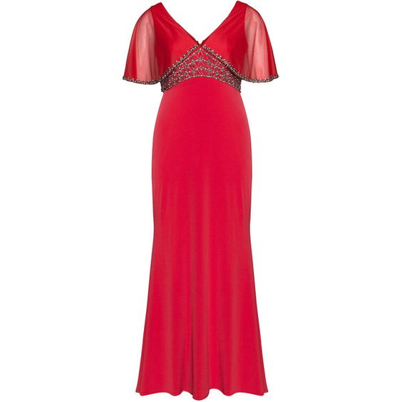 Viviana Red Plus Size Embroidered evening gown with train ($645) ❤ liked on Polyvore featuring dresses, gowns, plus size, red, short maxi dress, sheer sleeve dress, a line dress, maxi dress and womens plus size maxi dresses