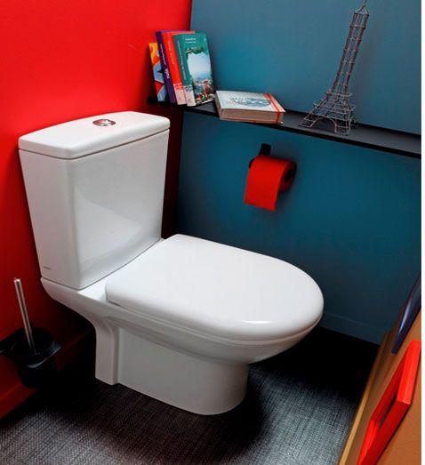 Salle De Bain Moderne Noir Et Blanc : Déco WC peinture couleur rouge et bleu canard sol gris
