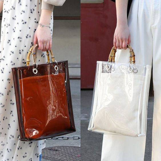 White Vintage Clear Bag Tote Bag # clearbag # handbag # women'sfashion # fashionweek # sweetsnap # summeroutfits # transparentbag #