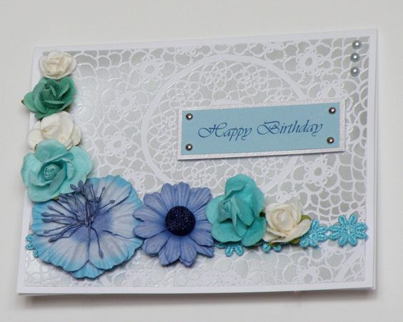 Birthday Card - Handmade Birthday Card - Blues and Silver. $6.00, via Etsy.