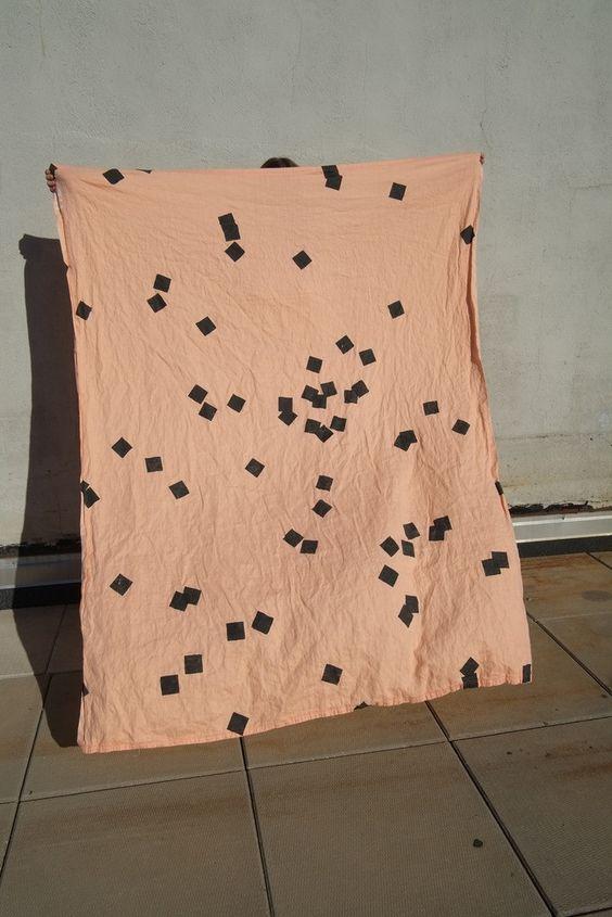 Linen throw - Sqaure dots peach| Mr Kitly