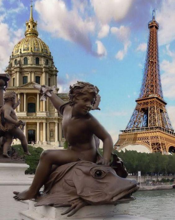 Auf der Ponte Alexandre III, Paris, France,  by Wilhelm Weste