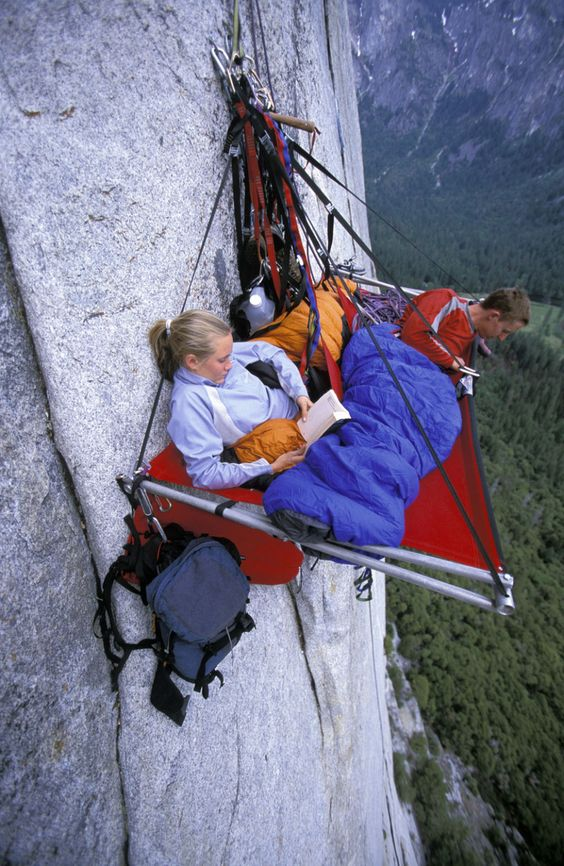 Camping in Yosemite cliff. Photo by Corey Rich / Getty Images