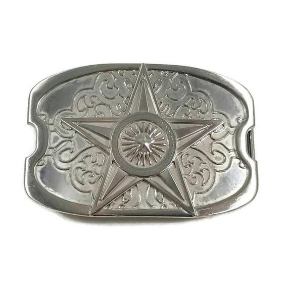 Vintage Metal Belt Buckle Star Wheel Silver Color Sun Starburst Filigree Cowgirl Feminine by ThriftyTheresa