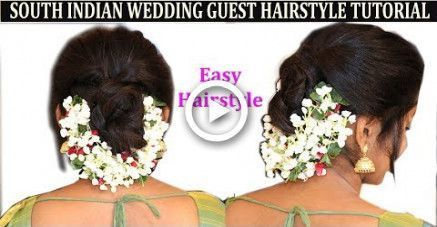 Easy Method Of South Indian Wedding Guest Hairstyle With Flower No Heatno Hair Easy In 2020 Wedding Guest Hairstyles South Indian Wedding Hairstyles Guest Hair
