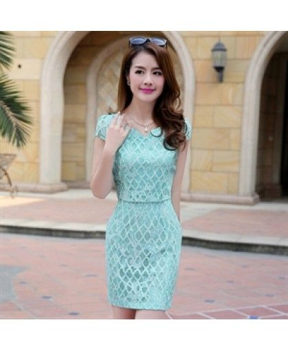 Short Sleeve Summer Chiffon Lace Waisted Elegant Dress YRB2148