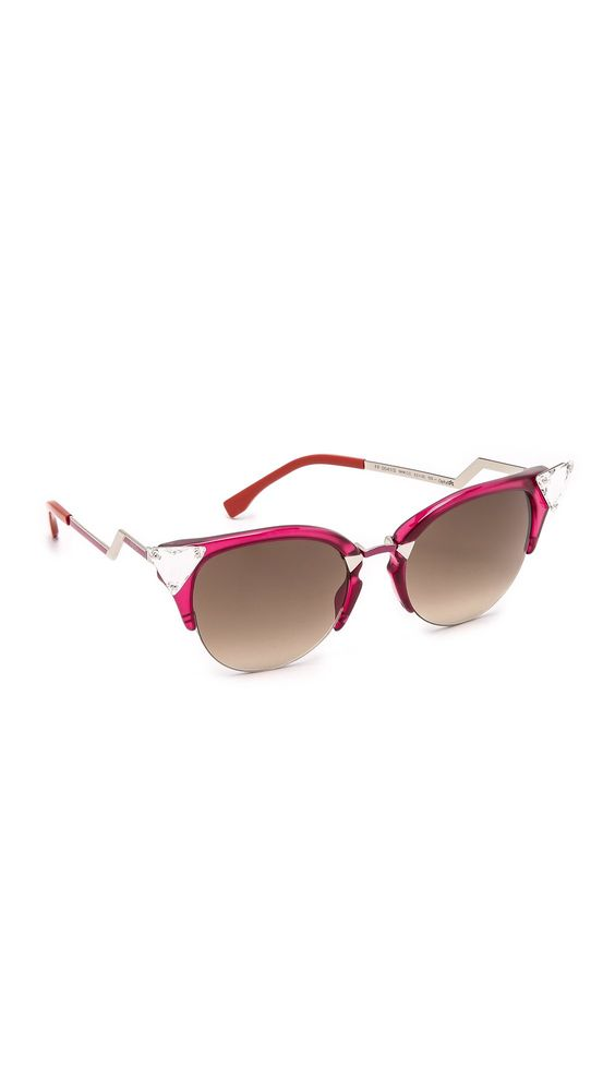 Fendi Women's Crystal Corner Sunglasses, Cherry Red/Brown Gradient, One Size. Height 2in / 5cm.