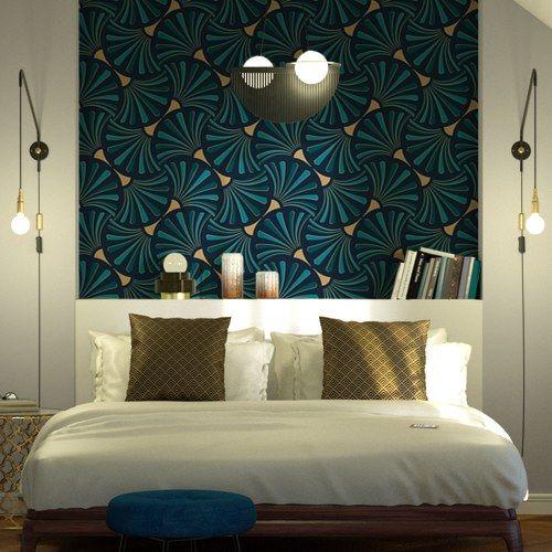 Papier Peint Intisse Paname Coloris Bleu Petrole En 2020 Idee Deco Mur Salon Deco Chambre Parentale Mansardee Et Chambre Parentale Papier Peint