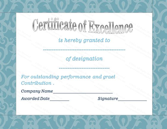 Certificate of Appreciation Template for Amazing Teacher - certificate of excellence wording