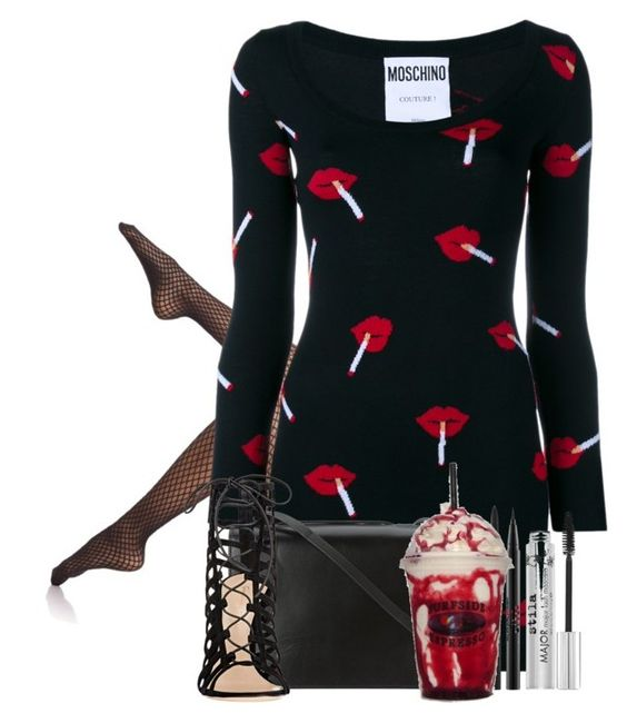 """""""Lips are movin'"""" by sticthen on Polyvore featuring Wolford, Moschino, BCBGMAXAZRIA, Gianvito Rossi and Stila"""