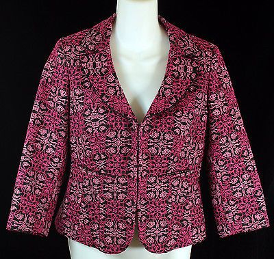 Talbots Blazer Jacket Womens Petites Size 4 Black and Pink with Filigree Print