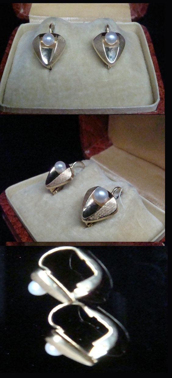 ORIGINAL EDWARDIAN DORMEUSE 9CT AND CULTURED PEARL EARRING