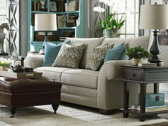 Neutral living room with light blue accents living room - Accent colors for gray living room ...