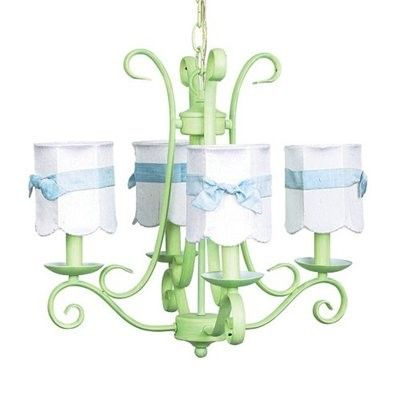 Price: $330.66 Jubilee 74511-2508-307 4 Light Harp Chandelier, Modern Green - Simplistic affordability. Scrolled iron mirrors the shape of a harp on this 4-arm chandelier. Perfect for a bedroom or even a bathroom.