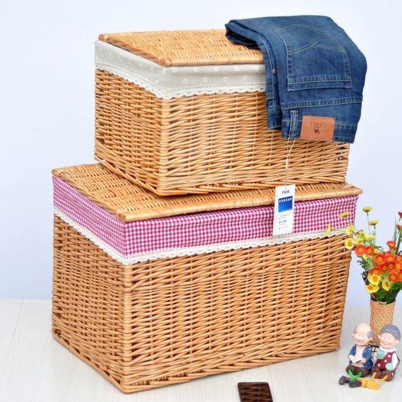 vime rattan extra grande produto de qualidade cesta do armazenamento com tampa