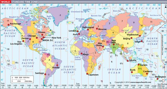 World Map with Time Zones Places to Visit Pinterest Time zones