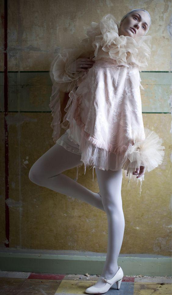 https://flic.kr/p/9qjvJU   Silk tulle neck ruff & cuffs   Pic by Xanthe Ellis. Model Zana O'Connell. MUA Temi Sawyerr Aboderin.