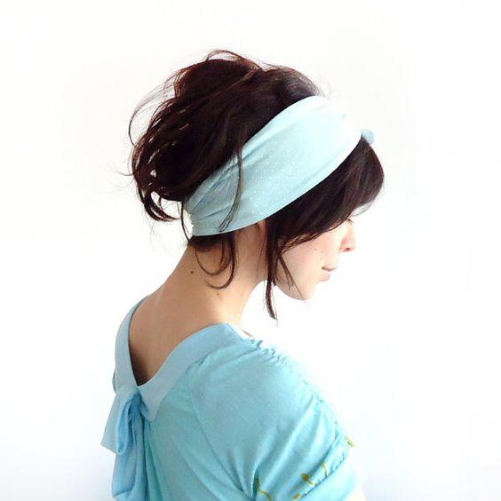 Tie Up Headscarf Mint with White Polka Dot