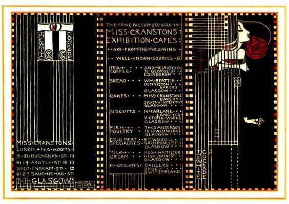 Menu card design for Miss Cranston's Cafes at the 1911 Glasgow International exhibition - Margaret MacDonald