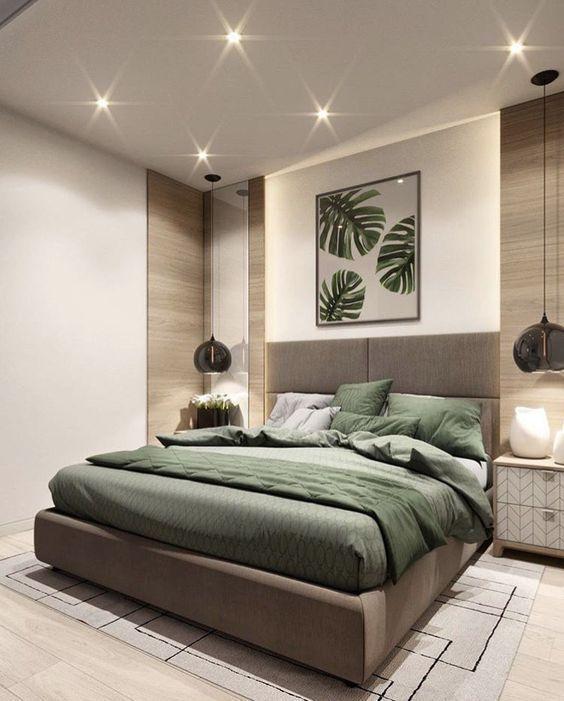 Green And Neutral Bedroom Design Interiors In 2020 Contemporary Bedroom Design Luxury Bedroom Furniture Bedroom Layouts
