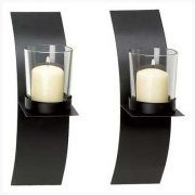 Gifts & Decor Modern Art Candle Holder Wall Sconce Plaque, Set of 2