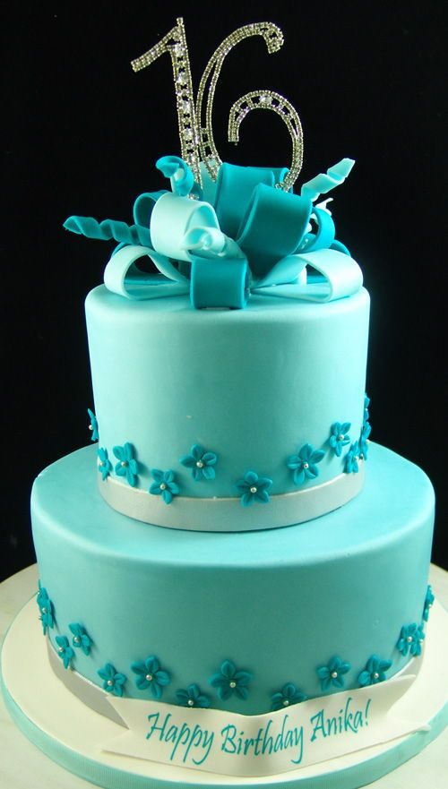 Teal Colored Sweet 16 Cake Mini Sugar Flowers With Images
