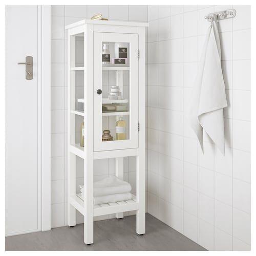 Hemnes High Cabinet With Glass Door White 16 1 2x15x51 5 8