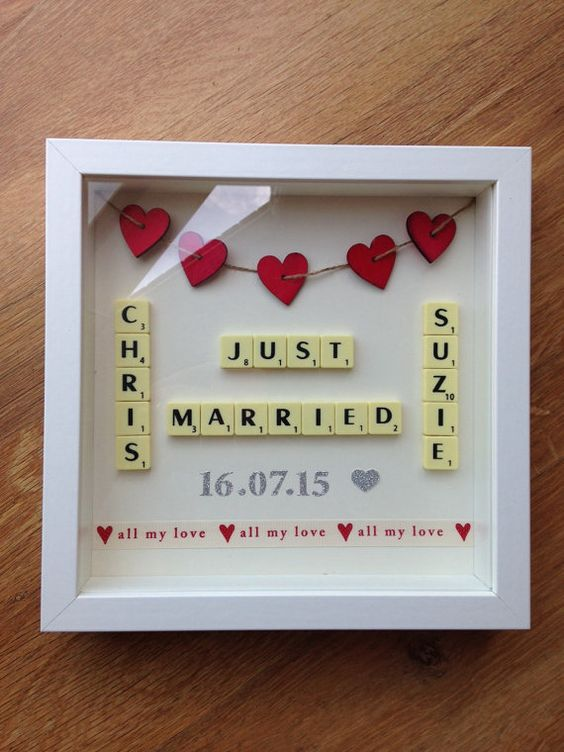 Wedding Gift Picture Frames Suggestions : Scrabble Art Picture Frame Wedding Gift Wedding, Scrabble wall art ...