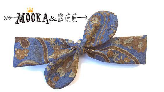 Paisley boho denim headband,blue top knot,head wrap,top knot,mummy and me set,rockabilly headband,hair wrap,hair wrap,toddler gift