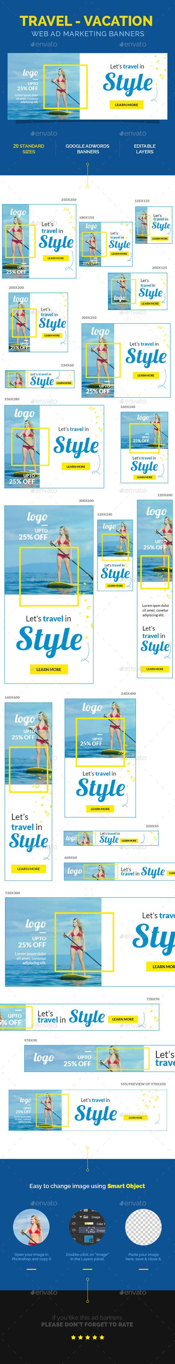 Travel - Vacation Web Ad Marketing Banners Download: http://graphicriver.net/item/travel-vacation-web-ad-marketing-banners/11022465?ref=ksioks