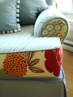 Slip Cover! Perfect way to renew my old couch or new color scheme for a change or for the Holidays. LOVE the fabric too!