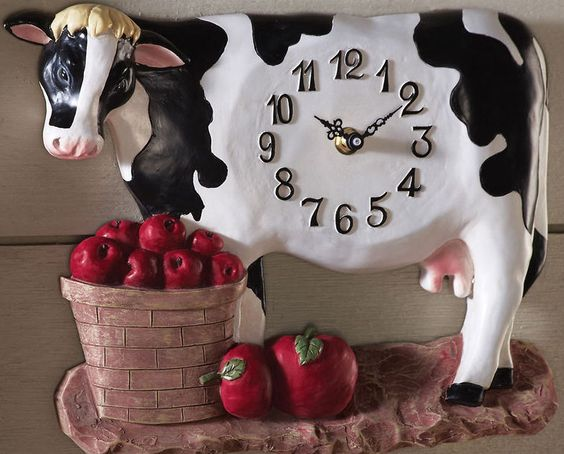 Betsy farm kitchen cow apples wall decor clock new in the home pinterest farms wall decor - Kitchen cow theme ...