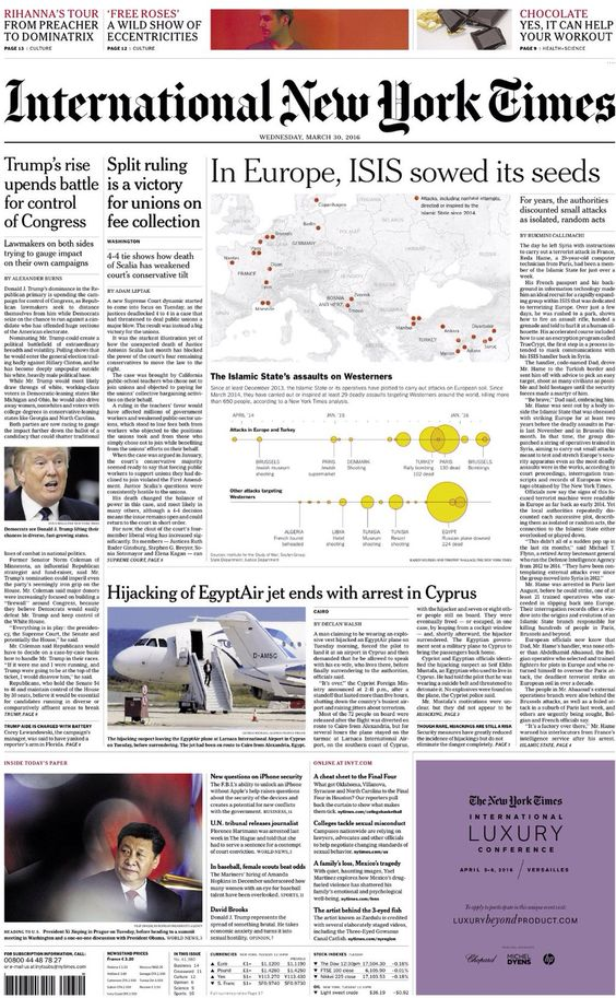 Wednesday's International NY Times: In Europe ISIS sowed its seeds #tomorrowspaperstoday #bbcpapers https://t.co/BEcRJtLLgi