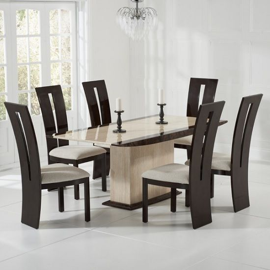 30++ Cream dining room table and chairs Top