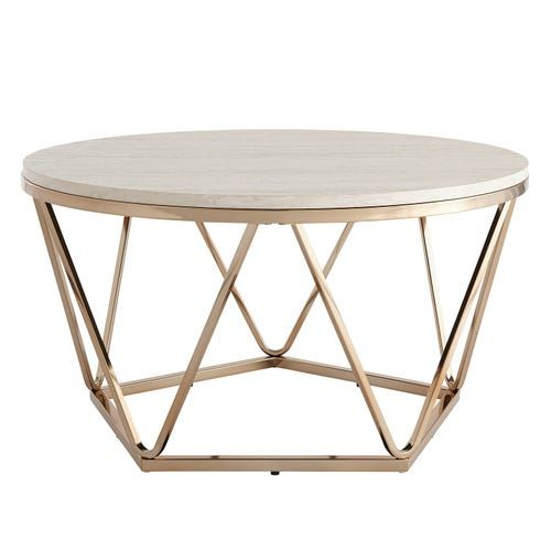 Carver Faux Stone Round Coffee Table In 2020 Stone Coffee Table