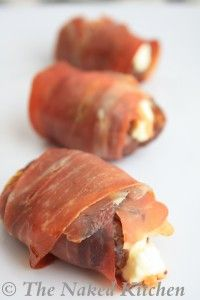 Pancetta Wrapped Stuffed Dates!  Ingredients:  12 medjool dates  3 ounces goat cheese (or Manchego)  3 ounces (12 slices) pancetta or proscuitto  honey or coconut nectar (optional)