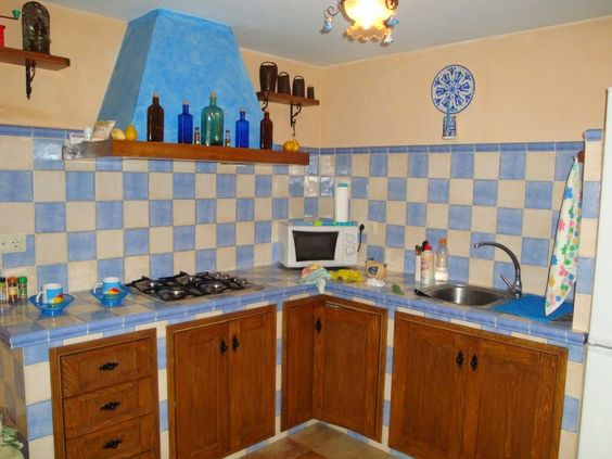 Cocinas con bajo mesada de obra en ladrillo rasado - Cocinas de obra ...