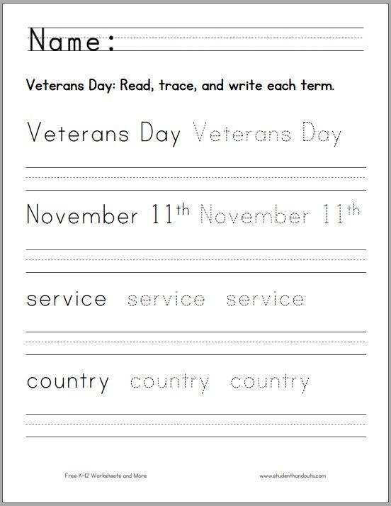 Veterans Day Handwriting Worksheet For K 1 Free To Print