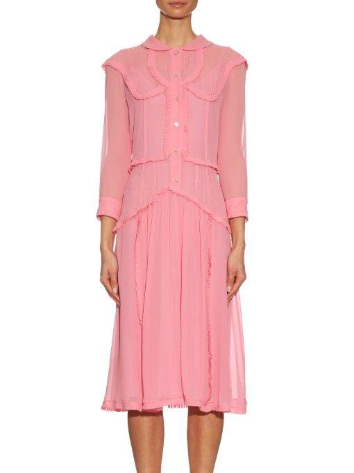 Gucci Ruffle-trim silk-georgette dress