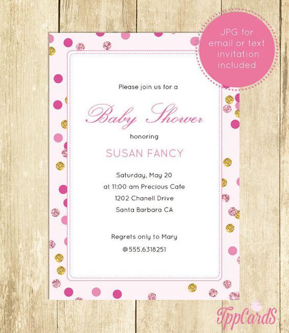 Polka Dot Baby Shower Invitations, Glitter Baby Shower Invites - baby shower invitations download