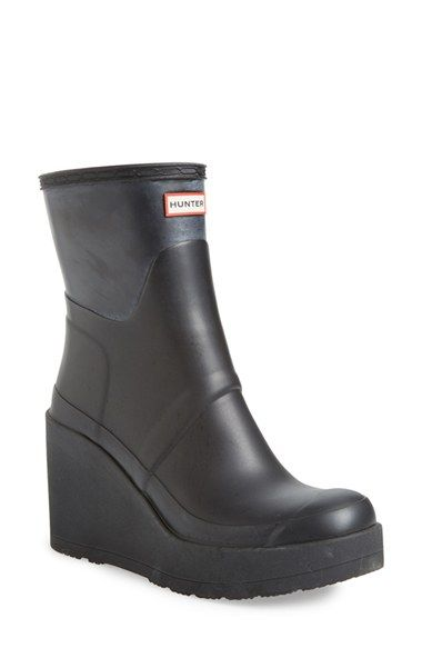 "Women's Hunter 'Original Short - Wedge' Rain Boot, 3 1/2"" heel ..."