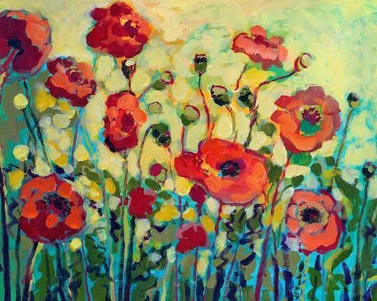 Anitas Poppies Poppy Wall Art Poppy Painting Abstract Canvas Painting