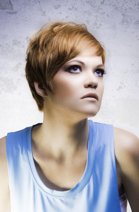 Short cut, beautiful Hair : Allan Munguia, Khristian Hanson Makeup: Stephanie Alefteras Photography : Allan Munguia