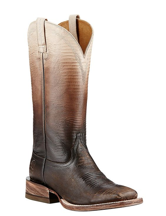 Ariat Women's Chocolate and White Ombre Lizard Print Western Square Toe Boots | Cavender's