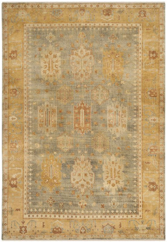 Oushak Mansoura Hand Knotted Wool Gray Gold Area Rug Rugs Colorful Rugs Tribal Boho Rug