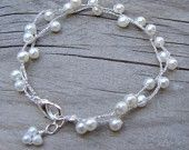 New - Hand Crocheted Pearls Bracelet In Silver - READY TO SHIP