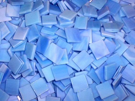 tumbled glass flooring | 100 1\/2 Inch Sky Blue Tumbled Stained Glass Mosaic Tiles
