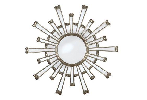 Mod Sunburst Wall Mirror, Silver