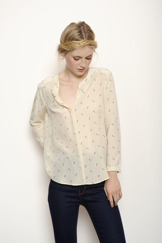blouse kabati ecru 100 soie chemise femme des petits hauts chemise pinterest chemises. Black Bedroom Furniture Sets. Home Design Ideas